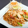 Seafood Pad Thai Fried Rice Noodles - Stock Photo