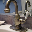 Brushed nickel faucet — Stock Photo