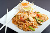 Seafood Pad Thai Fried Rice Noodles — Stock Photo