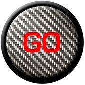 Carbon Fiber GO Button — Stock Photo