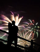 Fireworks Kiss — Stock Photo