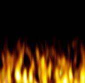 Hot Orange Flames over black — Stock Photo