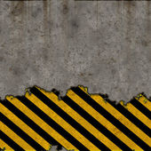 Hazard stripes torn wall — Stock Photo