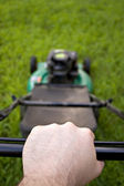Pushing the Lawn Mower — Stock Photo