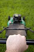 Pushing the Lawn Mower — Stockfoto