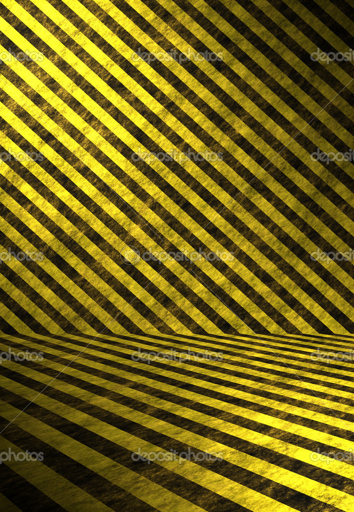 A 3D interior space lines with hazard stripes in yellow and black. — Stock Photo #8805484