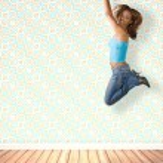 Jumping Hispanic Woman Vintage Room Interior — Stock Photo #8944242