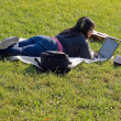 Girl Using a Laptop — Foto de Stock