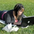 Girl with Laptop — Stock fotografie