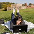 Girl Using a Laptop — Stock fotografie