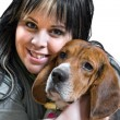 Girl And Her Dog — Stockfoto