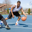 Men Playing Basketball One On One — Stock Photo