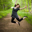 Joyful Jumping Woman — Stock Photo