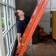 Setting Up a Ladder — Stock Photo