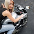 Girl On A Motorcycle — Stock Photo #8944790