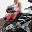Blonde Biker Girl — Stock Photo