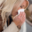 Blowing Her Nose — Stock Photo