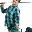 Happy Fisherman with His Rod and Cooler — Stock Photo #8944900