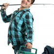 Happy Fisherman with His Rod and Cooler — Stock Photo