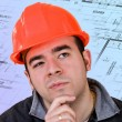 Construction Worker Thinking — Stock Photo