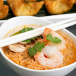 Thai Noodle Soup with Prawns - Stock Photo