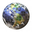 Stock Photo: 3D Wire Frame Earth Sphere