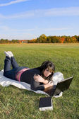 Girl Using A Laptop — Stock Photo