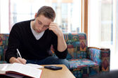 College Guy Studying Doing Homework — Stock Photo