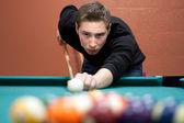 Young Man Shooting Pool — Stock Photo