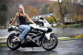 Blonde Biker Girl — Stock Photo