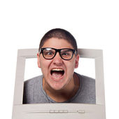 Head Coming Out of a Computer Screen — Stock Photo
