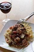 Shrimp With Fettuccini Dish — Stock Photo