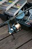 Fishing Rod and Tackle Box — Stock Photo