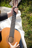 Girl Playing a Guitar — Stock Photo