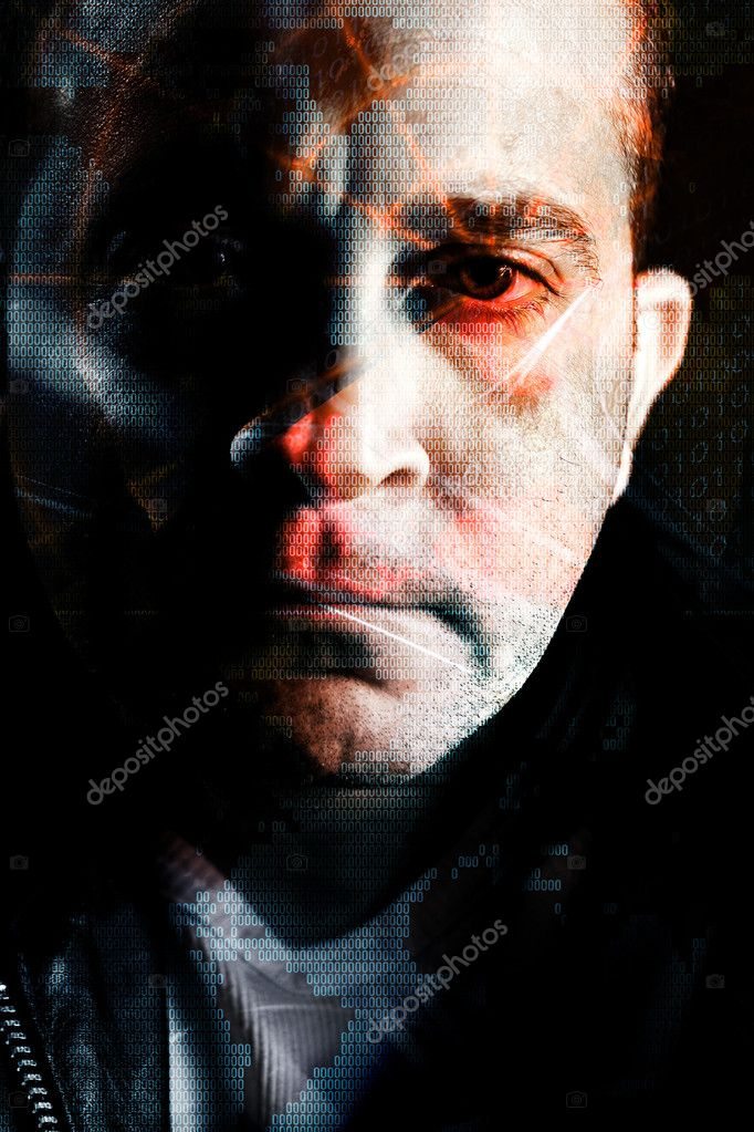 Abstract montage of a computer hacker with a radar grid and binary code overlaying his eye. — Stock Photo #8944260