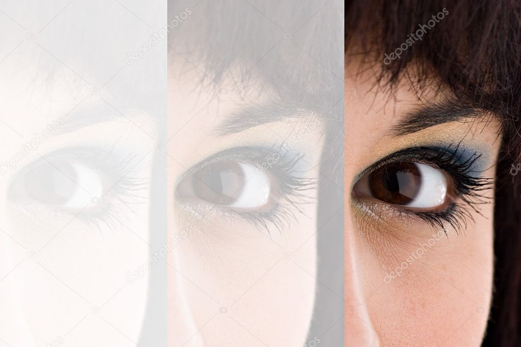 Closeup montage of an attractive young womans eye with copyspace. — Stock Photo #8944313