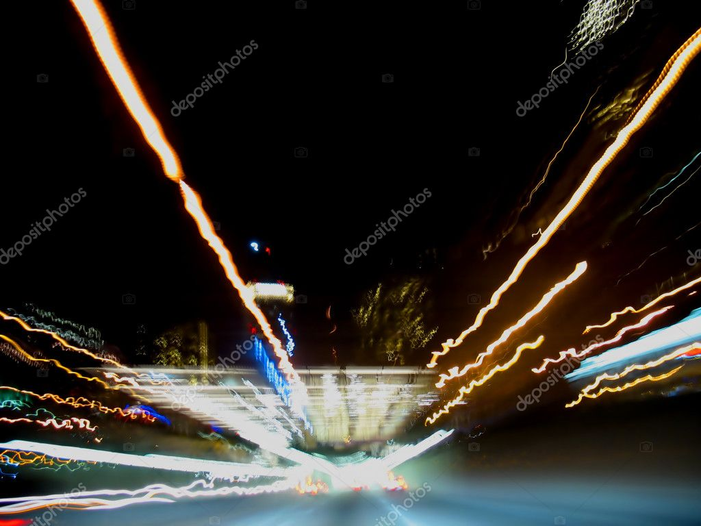 A cool, night highway scene  Stock Photo #8946392