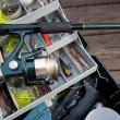 Fishing Rod and Tackle Box — Stock Photo