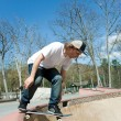 Skateboarder Falling Into Bowl at Skate Park — Stock Photo #9240768