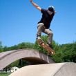 Skateboarder Doing a Jump at a Concrete Skate Park — Stock Photo #9240782