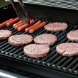 Hot Dogs and Hamburgers on the Grill — Stock Photo