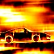 Royalty-Free Stock Photo: Fiery Blazing Sports Car