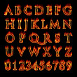 Flaming Alphabet and Numbers — Stok fotoğraf