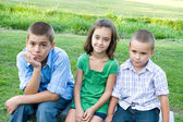 Three Bored Kids — Stock Photo