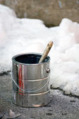 Painting in the Winter Time — Stockfoto