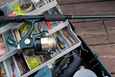Fishing Rod and Tackle Box — Foto Stock