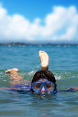 Woman Snorkeling — Stock Photo