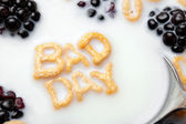 Words BAD DAY Spelled In Cereal Letters — Stok fotoğraf