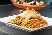 Seafood Pad Thai with Stir Fried Rice Noodles — Stock Photo