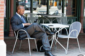 Business Man Working on His Laptop Outdoors — Stock Photo